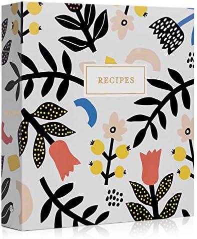 Jot Mark Recipe Organizer 3 Ring Binder Set Scandinavian Floral 50 Recipe Cards 4x6 Rainbow product image