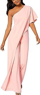 comprar comparacion YACUN Mono Largo Mujer Fiesta Verano de un Hombro sin Mangas Pantalones Largos Pierna Ancha Cintura Alta Causal Elegante