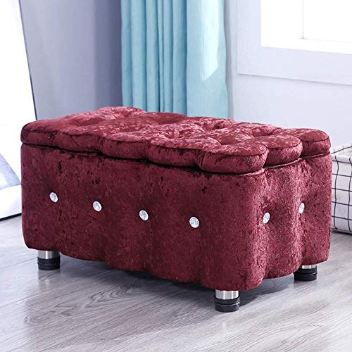 Storage Benches Storage Ottoman Footstool Foyer Change Shoe Bench Storage Bench Tufted Fabric Upholstered Seat Living Room Bedroom Footrest, Max 200kg (Color : Brown, Size : 60cm)
