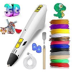 3D Stifte Set Intelligenter Verstellbarer 3D Druck Stifte mit PLA- und ABS-Filamentminen in 12 Farben, Geeignet für Erwachsene und Kinder Zum Basteln