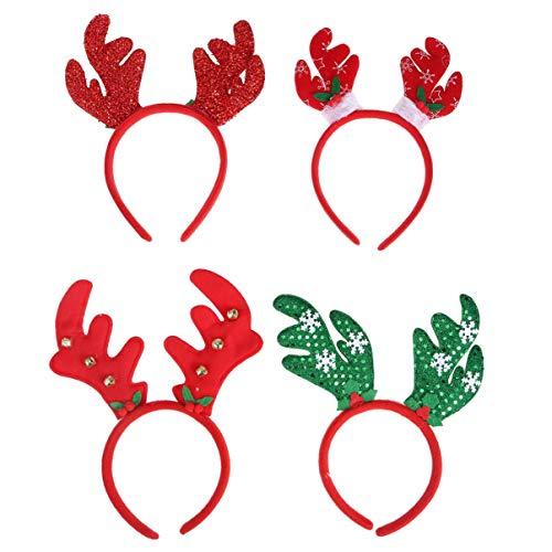 Minkissy 4 Stücke Rentier Geweih Haarreif mit Glocken Weihnachten Haarschmuck Kopfschmuck Weihnachtsmütze Kopfbedeckung Kinder Erwachsene Party Elch Kostüm Zubehör