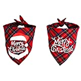 SHOKUTO 2 Pcs Christmas Dog Bandana, Pet Kerchief Scarf Dog Triangle Bibs Washable Cat Scarf Accessories for Christmas Holiday Festival Theme Party Cat Dog