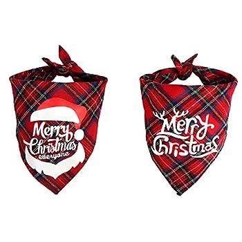 SHOKUTO Lot de 2 bandanas de Noël pour chien, foulard pour animal domestique, foulard triangulaire lavable pour chat, foulard pour Noël, vacances, festival, fête à thème