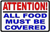 注意すべての食品をカバーする必要があります。金属錫サイン耐久性、耐水性、セキュリティを警告する道路交通の危険を通知します