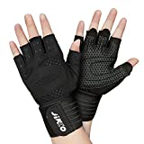 JIKKO Cycling Gloves Bike Gloves Mountain Road Bike Gloves for Men & Women Anti-Slip Shock-Absorbing Pad Breathable Half Finger Bicycle Biking Gloves for Fitness Gym Exercising Training