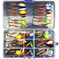 Skysper Fishing Lure Sets with Tackle Box, Sea/River Fishing Artificial Baits Kits Includes Rotating Sequins, Soft Plastic Worms, Crank Bait, Jigs, Luminous Lures, Topwater Lures, and Accessories