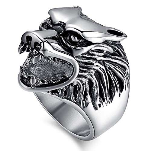Men's Norse Viking Wolf Head Beard Ring, Warrior Hunter Vintage Silver Black Stainless Steel Polished Ring, Celtic Pagan Protection Amulet Jewelry Gift,11