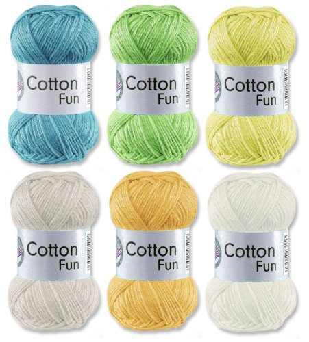 Gründl Cotton Fun Häkelgarn Schulgarn 100% Baumwolle SET Pastell Mischung 6 Stück 300 Gramm