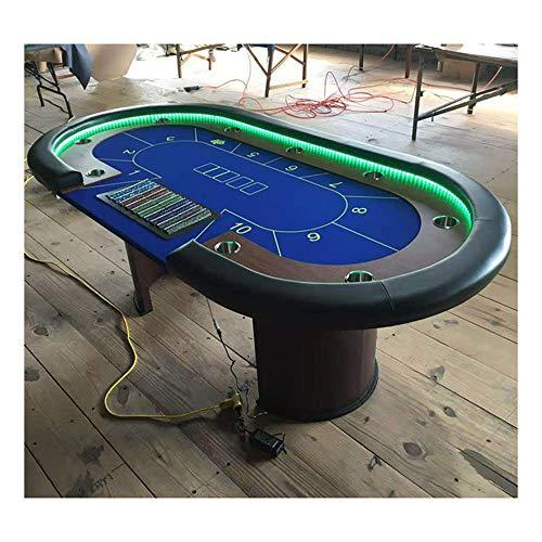 CXSMKP Texas Hold'em Tisch Baccarat Tischgröße Punkt Tisch Niuniu Monolithische Holzbasis Für 9 Spieler, Pokertisch Mit LED-Lichteffekt, Samtstoff, Stahlbecher, PU-Leder,A,94inch