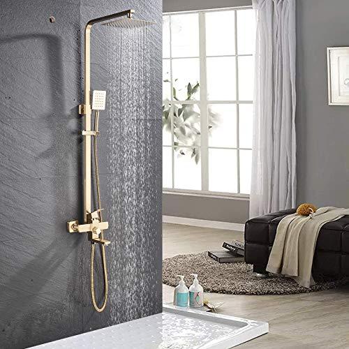 Onyzpily Gebürstetes Gold Duscharmatur 3 Funktionen Duschsystem Duschset Regendusche inkl. Kopfbrause, Handbrause, verstellbarer Duschstange, Dusche Duschpaneel Duschgarnitur Duschsäule