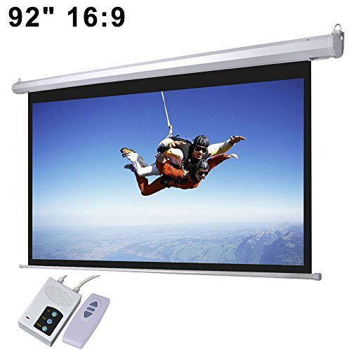 92' 16:9 Aspect Ratio Electric Motorized Mountable Projector Screen with Remote Control