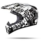 ATO-Moto Nevada Weiß Größe S 55-56cm Motocrosshelm mit ausziehbarer Sonnenblende und der neusten Sicherheitsnorm ECE 2205