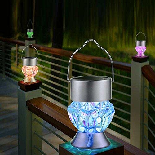 FENG - Lámpara solar de diamante resistente al agua, rotable, para jardín, camping, luz LED
