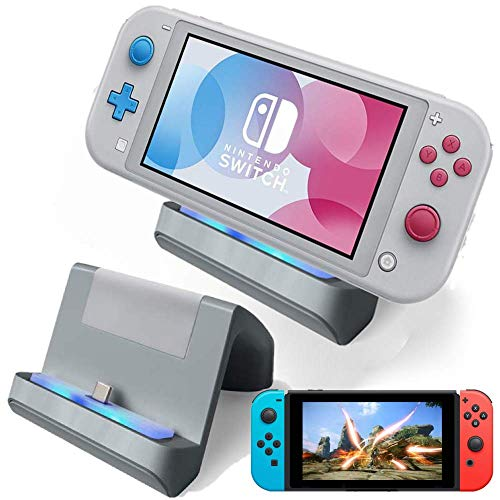 TNE - Switch Lite Charger Stand   Mini Charging Display Dock Station Holder Accessories with USB Type C Port for Nintendo Switch/Switch Lite 2019 Portable Gaming System (Gray/Grey)