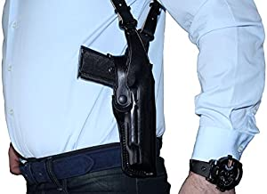 Premium Leather Vertical Shoulder Holster System with Double Magazine Carrier for CZ 75 SP-01 Tactical 4.6''BBL, Right Hand Draw, Black Color #5004#