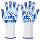 Recoty BBQ Gloves, Flexible Oven Gloves 1472°F Extreme Heat Resistant Grill Gloves, Non-Slip Food Grade Silicone Oven Mitts for Kitchen, Cooking, Barbecue, Baking, Smoker (14inch White, Long Cuff)