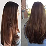 Long Straight Dark Brown Wig for Women Synthetic Middle Part Wig Natural Wig for Daily Use Heat Resistant Fiber