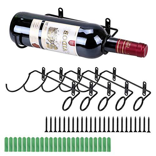 BSTKEY Weinflaschenhalter zur Wandmontage, Eisen, für Rotwein, Getränke, Likörflaschen, Metallhalterung zum Aufhängen, 6 Stück Flaschenmund nach rechts