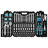 Prostormer 228-Piece Mechanics Tool Set, General Purpose Mixed Sockets and Wrenches Auto Repair Tool Kit with Plastic Storage Case