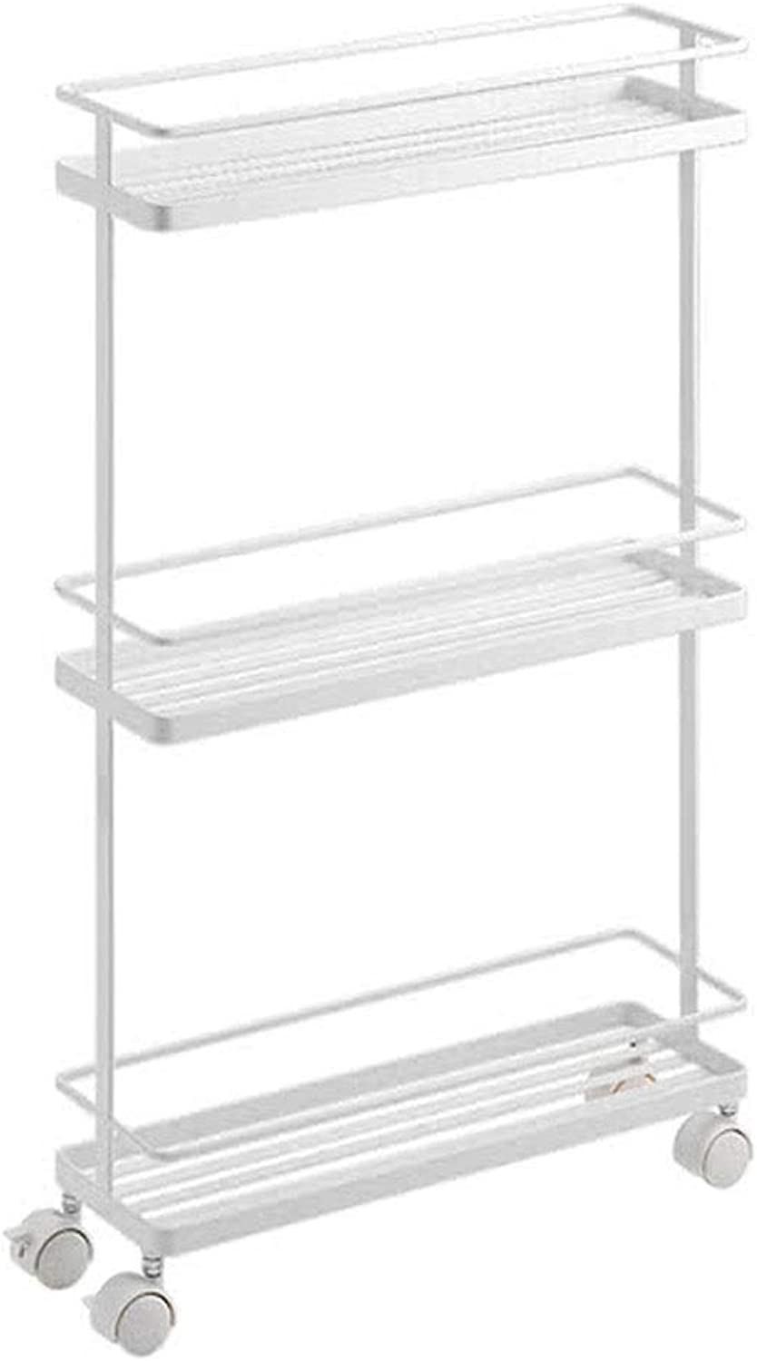 Slot Storage Cart Kitchen Bathroom with Roller Shelf Multi-Function Three-Layer Metal White Unit Cart with Brake Cabinet