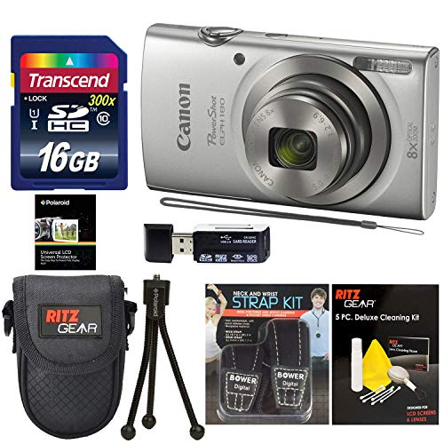 Canon Elph 180 Point and Shoot Camera (Silver) with Transcend 16GB, Camera Case, Memory Card Reader, Neck Strap, Cleaning Kit Bundle