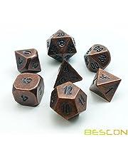 Bescon Antik Koppar Massiv Metall Polyedrisk D&D Tärningar Set av 7 Gammal Koppar Metall RPG Rollspel Tärning 7 st Set
