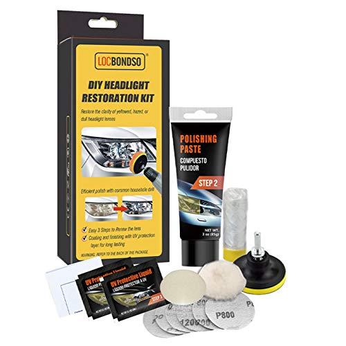 Vecksoy Scheinwerfer Aufbereitung Set Einfacher Hochleistungs-Wiederherstellung Ultimativer Scheinwerfer-Wiederherstellungsreiniger Mit UV-Schutz