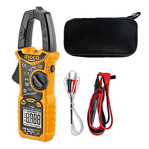 INGCO Auto Ranging Digital Clamp Meter TRMS 6000 Counts Measures AC/DC Voltage AC/DC Current Resistance Capacitance Diode Test Temperature DCM6005