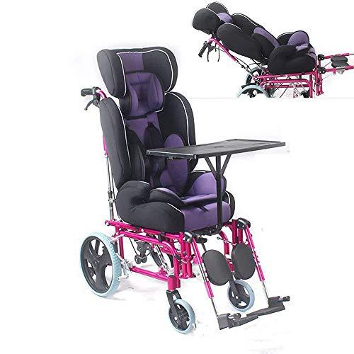 PORU Faltbares Wheelchai, Manueller Kinderrollstuhl, Mit Hoher Rückenlehne, Mit Esstisch, Cerebralparese, Kinderwagen Mit Vollständiger Neigung