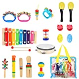 FISHOAKY Musikinstrumente Kinder, 20 Stück Musikinstrumente für Kinder Baby, Holz Percussion Schlagzeug Schlagwerk Xylophone Kinder Spielzeug Set Musical Rhythmus Set