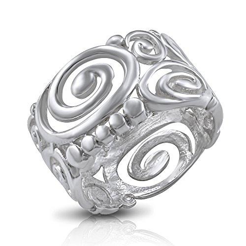 Sterling Silver Tribal Eye Bali Open Celtic Swirl Scroll Ring - Size 7