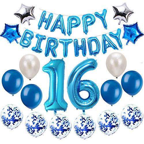Oumezon 16 Geburtstag Dekoration Blau, 16 Geburtstag deko für Mädchen Jungen Happy Birthday Girlande Banner Folienballon Konfetti Luftballons Deko Geburtstag Party Anzahl Ballons