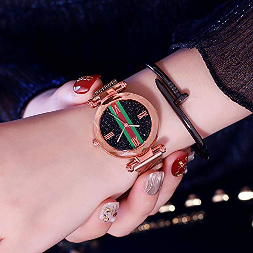 Niñas,Minimalista Reloj Female Time Dress Watch Ladies School Secundaria Estudiantes Mire el Reloj-Oro Rosa