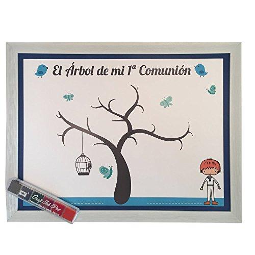 Cuadro con Marco arbol Huellas comunion Azul