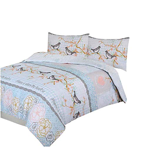ARLINENS Polycotton Printed Duvet Quilt Cover with Pillowcases Bedding Set (SWEET BIRDS, DOUBLE)