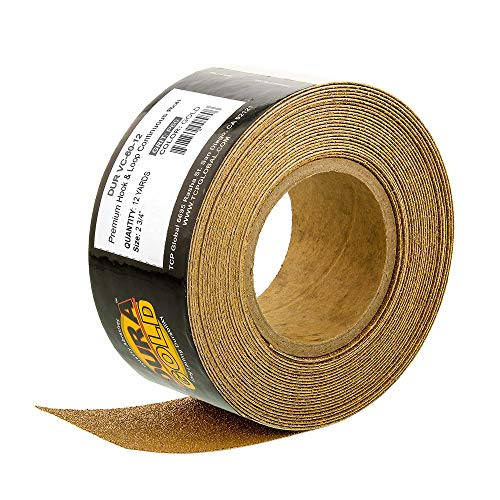 Dura-Gold Premium - 60 Grit Gold - Hook & Loop Backing Longboard Continuous Sandpaper Roll, 2-3/4
