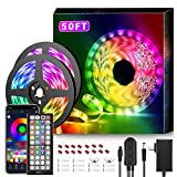 50Ft LED Strip Lights Music Sync Color Changing RGB LED Strip 44-Key Remote,...