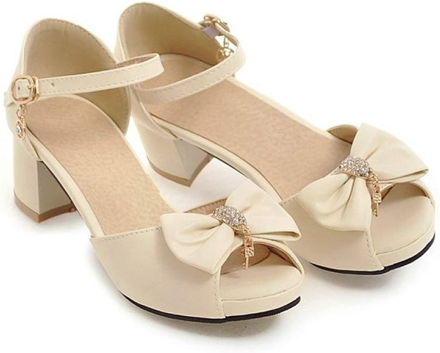 T-JULY Sandals for Women Open Toe Bowknot Square Heel Casual Summer Sweet Style Ladies shoes