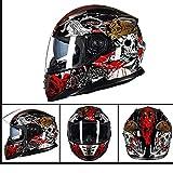 LTongx Full Face Motorradhelm Weißer Totenkopf Serie Full Face Racing Motorradhelm mit...