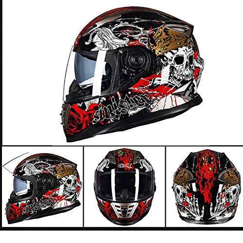 LTongx Full Face Motorradhelm Weißer Totenkopf Serie Full Face Racing Motorradhelm mit Doppel-Sonnenblende (M, L, XL),XL(59~60cm)