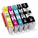 Pack de 5 Compatibles PGI-580/CLI-581 XXL Cartouches d'encre pour Canon Pixma TR7550, TR8550, TS6150, TS6151, TS8150, TS8151,...