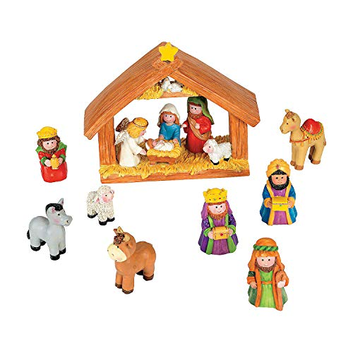 Fun Express Mini Christmas Nativity Set Stable with Jesus Mary Joseph Wisemen - 9 Pieces Red  Blue  Green  Beige  Brown