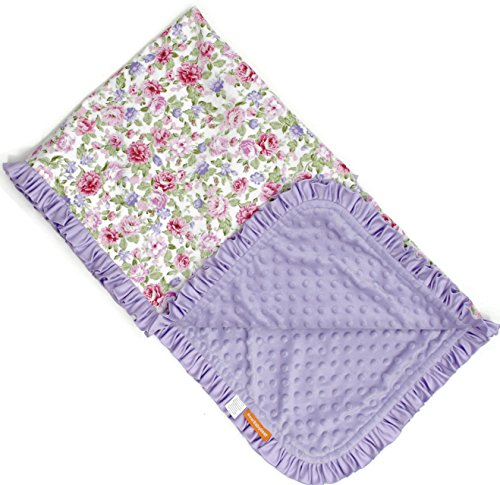 Dear Baby Gear Deluxe Baby Blankets, Cotton Vintage Floral Pink and Lilac Roses, Lavender Minky Dot with Lavender Ruffle, 38 Inches by 29 Inches