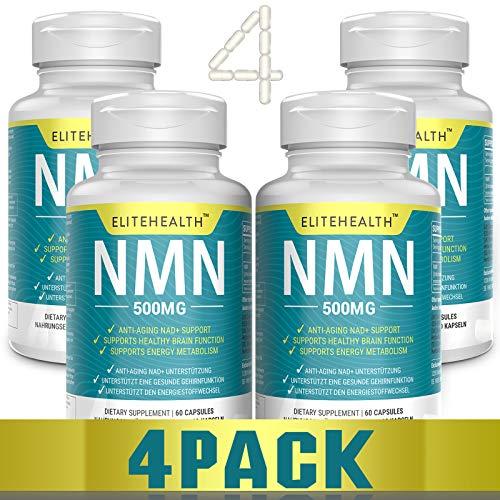 Nicotinamide Mononucleotide NMN 60 Kapseln von Cellimpact | 500mg pro Kapsel | NMN Kapseln für ein höheres NAD Niveau-Vegan freundlich (Vier Flasche)