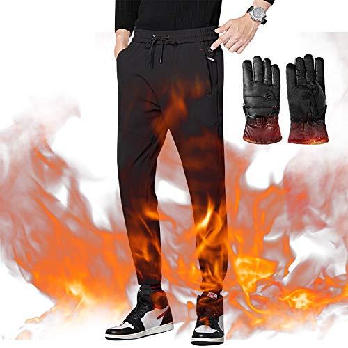 QWET Usb Electric - Pantalones casuales para hombre y mujer, con rodillera delgada, ideales para mantener el calor en otoño e invierno, deportes al aire libre, negro, XL