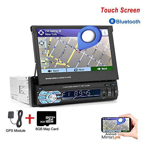 Hikity Bluetooth Car Stereo Single Din 7 Inch Folding Touch Screen Radio FM Receiver Supports GPS Navigation Mirror Link for Android iOS Phone Backup Camera Upgraded