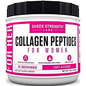 Collagen Peptides Powder for Women | Grass Fed Hydrolyzed Collagen Powder for Healthy Hair Skin Nails and Joints – Paleo Friendly & Flavorless Keto Protein Powder for Sports Recovery – Sheer Strength