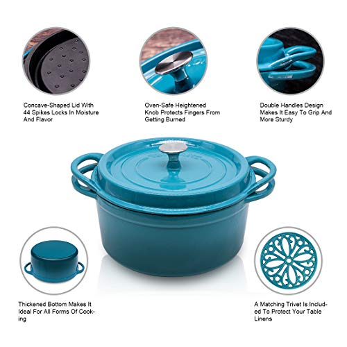 Enameled Cast Iron Dutch Oven 7.5 Quart with Lid Trivet Blue