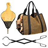 GASPRO Fireplace Bellows Set, 3 Piece Fireplace Tools Set for Firewood, Also Include Fireplace Tongs and Firewood Carrier Bag