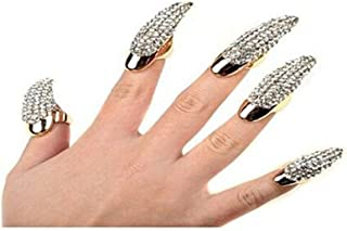 Set of 5 Punk Style Eagle Claw Ring Gothic Jewelry False Nail Retro Clear Crystal Talon Finger Ring Knuckle Bend Fingertip Claw for Cosplay Paty (gold)
